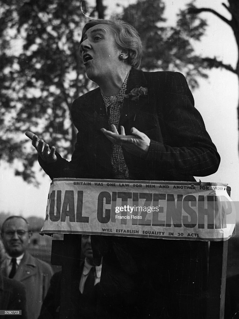 A woman giving a speech on equal citizenship at Speakers' Corner in London's Hyde Park. Original Publication: Picture Post - 2050 - Hyde Park Speakers - pub. 1945