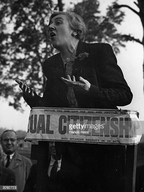 A woman giving a speech on equal citizenship at Speakers' Corner in London's Hyde Park Original Publication Picture Post 2050 Hyde Park Speakers pub...