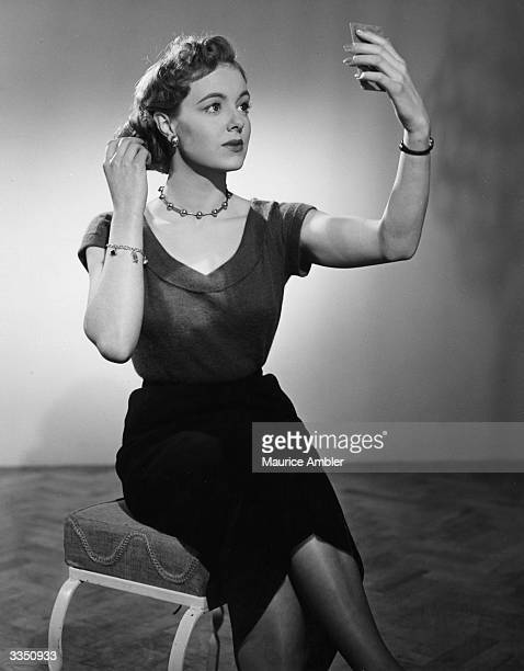 British actress Pauline Stroud in a London Films studio portrait to promote her new film 'Lady Godiva Rides Again' Original Publication Picture Post...