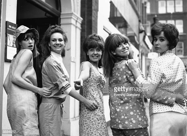 The five leading girls in the musical 'Passion Flower Hotel' in Soho London are left to right Jane Birkin Francesca Annis Pauline Collins Jean Muir...