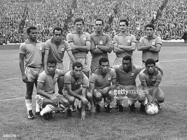 The Brazilian football team in Britain for the 1966 World Cup They are seen lining up before their warmup match against Scotland at Hampden Park Pele...