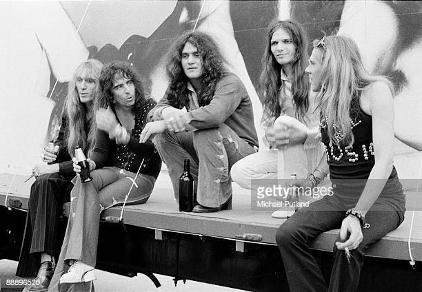 American rock group Alice Cooper at Chessington Zoo for a press launch to promote a Wembley concert on 28th June 1972 Left to right drummer Neal...