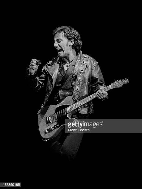 Bruce Springsteen performs live on stage at Feyenoord Stadium in Rotterdam Netherlands during the Tunnel Of Love tour on 28th June 1988