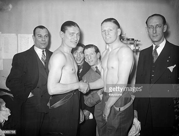 Harry Mizler and Harry Craster are weighed-in for the British welterweight fight in the NSC Tournament at Earl's Court.