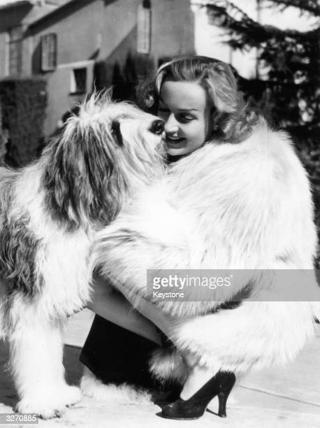 US actress Carole Lombard embraces a white sheepdog given to her by Clark Gable
