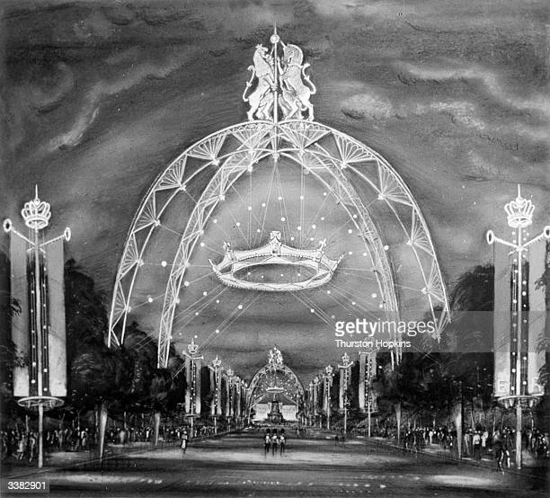 An artists impression of the coronation route with four arches designed by Eric Bedford that rise 65 feet above the ground and upon which are perched...