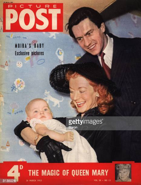 Ballerina Moira Shearer and her husband newscaster Ludovic Kennedy with their baby Ailsa Original Publication Picture Post Cover pub 1953