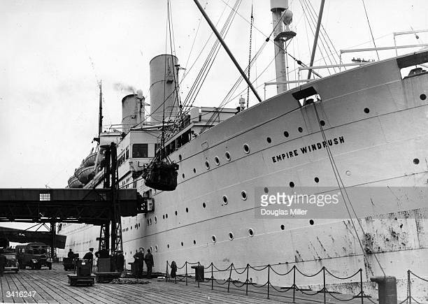 Cargo being loaded onto the British liner 'Empire Windrush'