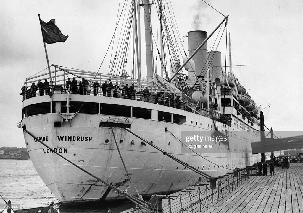 The British liner 'Empire Windrush' at port.