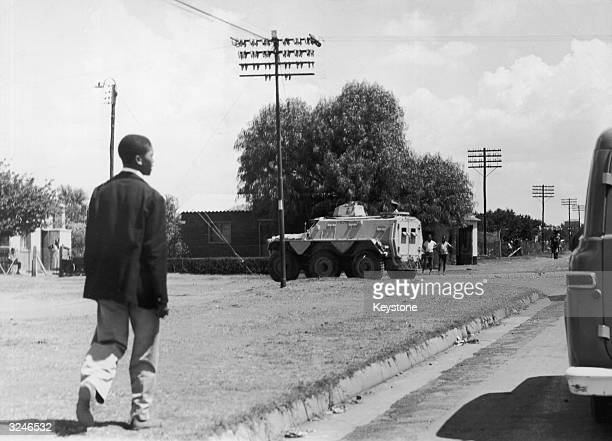 Armoured vehicles in the streets of Sharpeville during rioting in response to laws requiring black citizens to carry passes