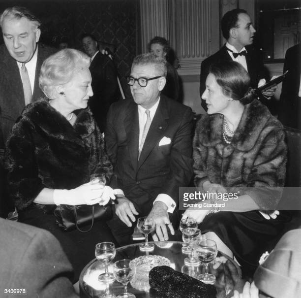 Mrs Richard Rodgers wife of the composer with his partner and librettist Oscar Hammerstein and Mrs Hammerstein