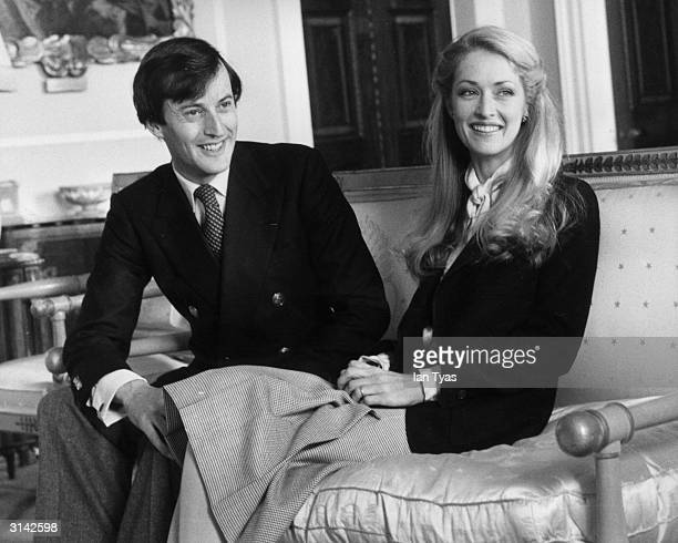 The grandson of Lord Louis Mountbatten Lord Romsey with his wife Penelope seated in the Wedgwood Room of Broadlands once the home of Lord Louis...