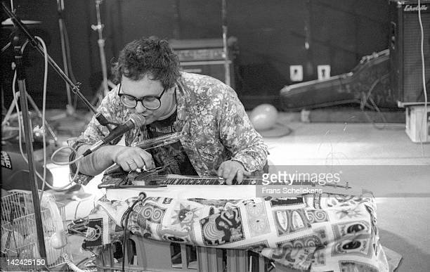 28th MARCH: American guitarist Eugene Chadbourne performs live on stage at the BIM Huis in Amsterdam, Netherlands on 28th March 1987.