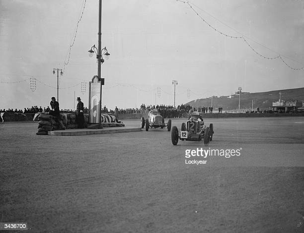 British racing drivers Raymond Mays and Richard Seaman rounding a hairpin bend during a practice at Douglas Isle of Man for the Mannin Beg and Mannin...