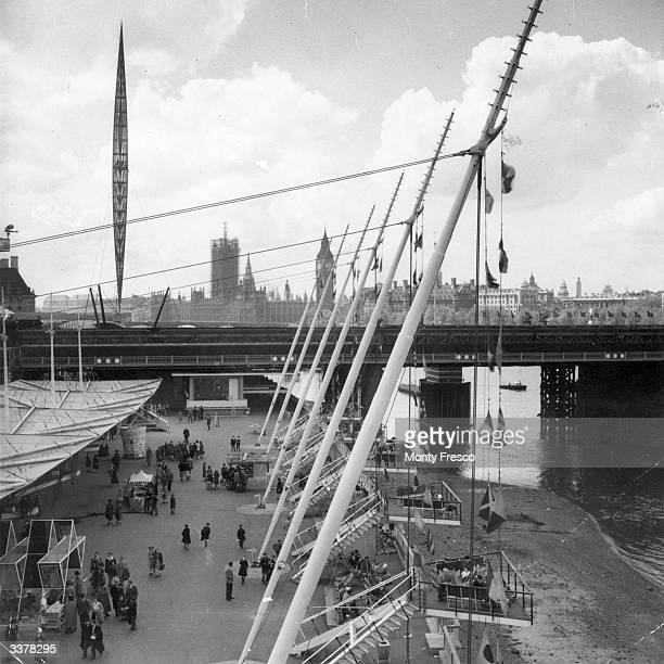 The South Bank during the Festival of Britain with the Skylon and the Houses of Parliament clearly visible