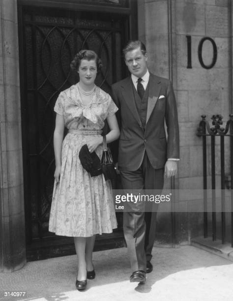 Viscount Althorp son of the Earl and Countess Spencer with his fiancee eighteen year old Hon Frances Roche daughter of Lord and Lady Fermoy They are...