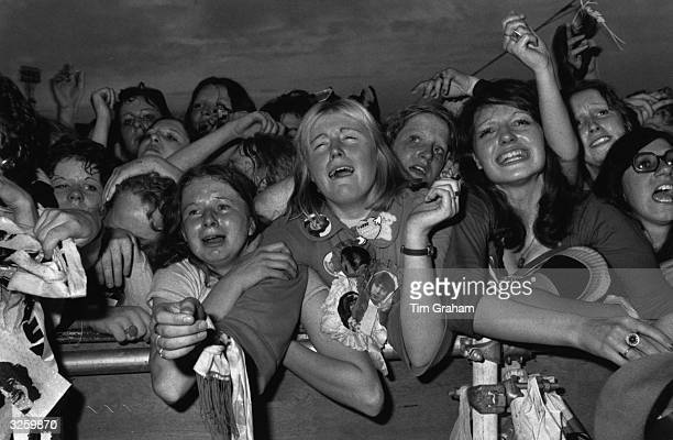 Teenage fans at a David Cassidy concert at White City London