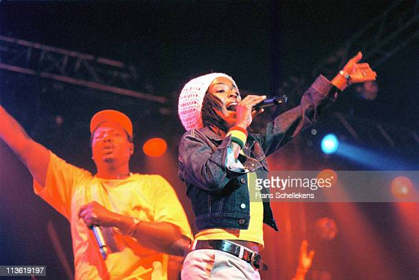 Singer Lauryn Hill performs live on stage at Drum Rythm festival in the Westergasfabriek in Amsterdam Netherlands on 28th May 1999