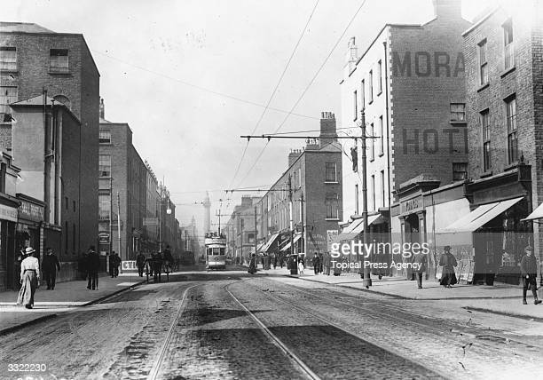Talbot Street in Dublin where a riot took place in 1911 during a strike Nelson's Pillar is visible in the distance