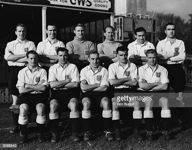 The England football team at the Brighton and Hove Albion ground where they are in training Back row left to right W Watson Neil Franklin Bert...