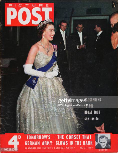Queen Elizabeth II is featured for the cover of Picture Post magazine. Original Publication: Picture Post Cover - Vol 61 No 09 - pub. 1953.