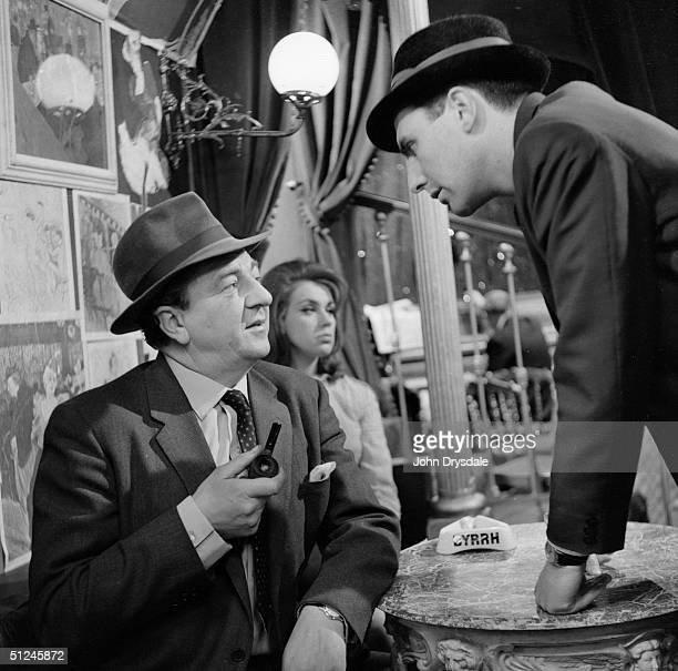28th November 1962, In the Cafe Lautrec, Rupert Davies as Inspector Maigret, briefs his private eye, La Pointe in a scene from the BBC television...