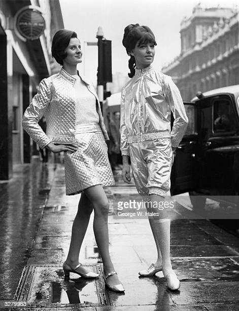 Helga Goldmann modelling silver Lurex lame shorts and battle jacket by Georgina Lindhurst of London and Jeana Whiff wearing a knickerbocker suit in...