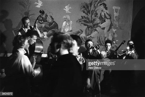 British trombonist and band leader Chris Barber's jazz band performing with Lonnie Donegan on banjo Original Publication Picture Post 8113 Chris...