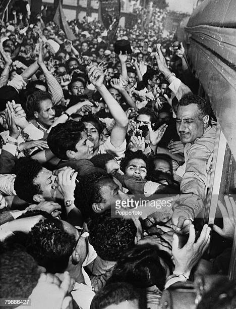28th October 1954 Egyptian Premier Nasser greeted by emotional crowds on his way back to Cairo following the bid to assassinate him