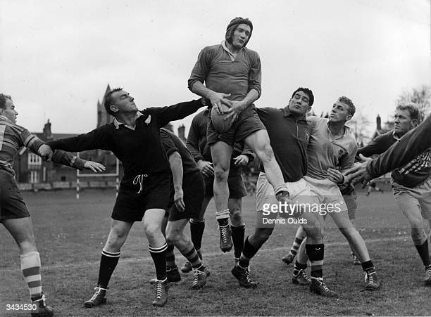 Members of the Australian Rugby Union team practising in the grounds of Eastbourne College