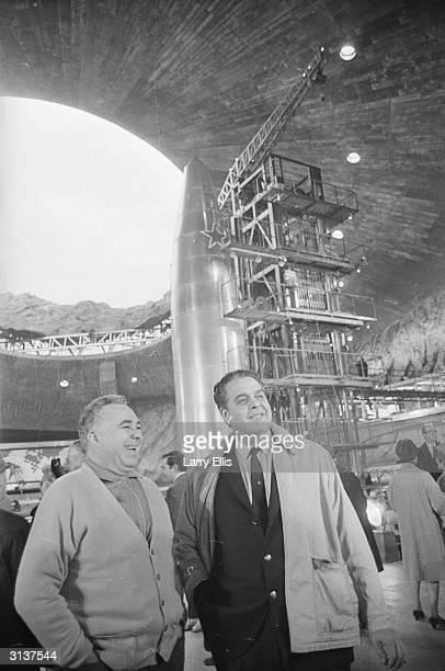 Coproducers Harry Saltzman and Albert Broccoli on the massive purposebuilt Pinewood set of the new Bond film 'You Only Live Twice' directed by Lewis...