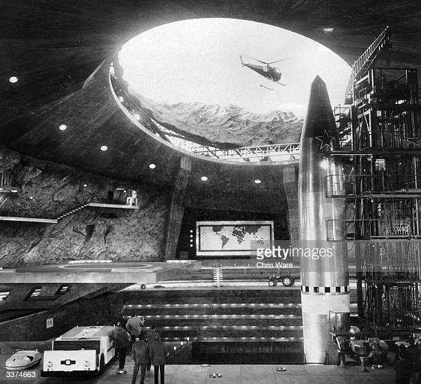 The extensive film set at Pinewood studios London representing the interior of a volcano owned by the criminal syndicate SPECTRE built for the James...