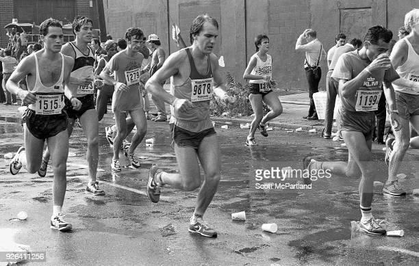 New York Marathon runners navigate the streets of Williamsburg Brooklyn during the NYC Marathon