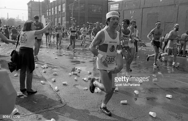 New York Runners navigate the streets of Williamsburg Brooklyn during the NYC Marathon