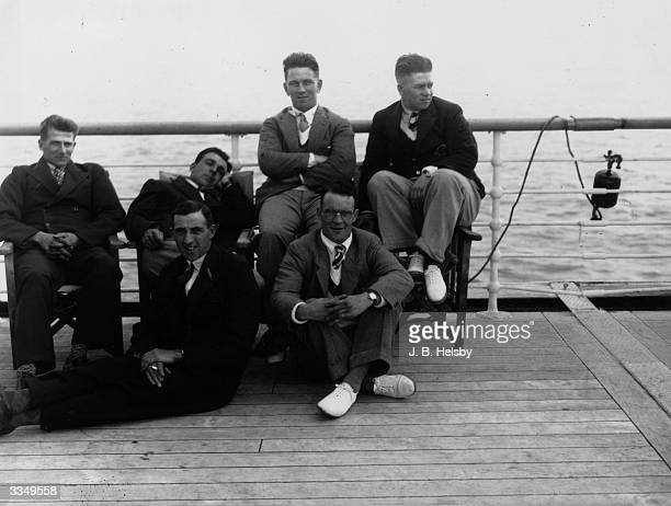 The English cricket test team on board the Orient liner 'Orontes' on the way to Australia. Left at the front Paynter Back row left to right -...