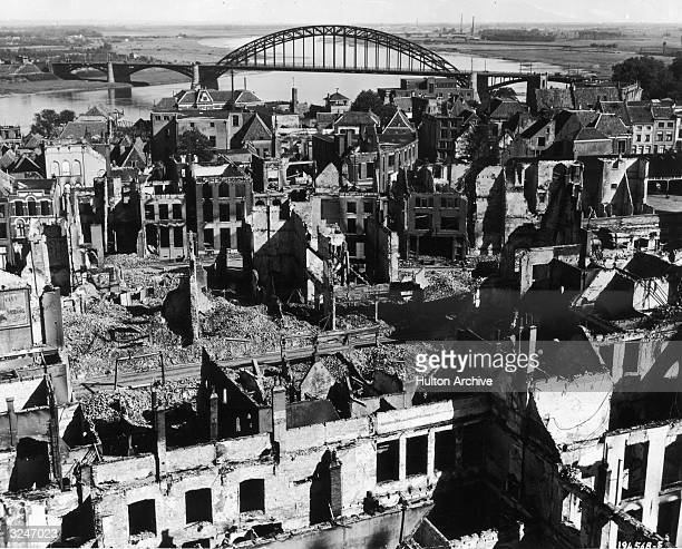 Ruined buildings in Nijmegen after Allied and German bombardment and shelling devasted the Dutch town