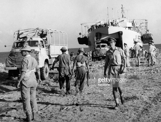 British troops carrying out an assault landing on a beach in the Akamas area during a combined services amphibious exercise at Khrysokhou Bay,...