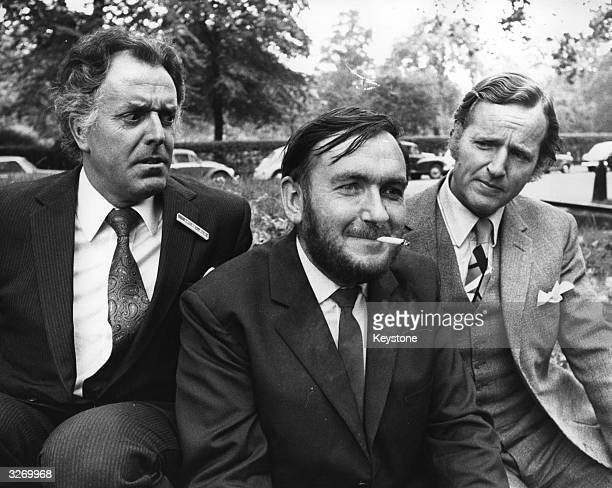 Comedian Brian Rix Chairman of the development Committee of the AntiSmoking campaigning organisation ASH seen with Nicholas Parsons giving...