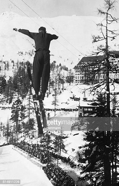 2/9/1924Chamonix France Hans Eidendeug makes his sensational ski jump of 36 meters at the Olympics in Chamonix