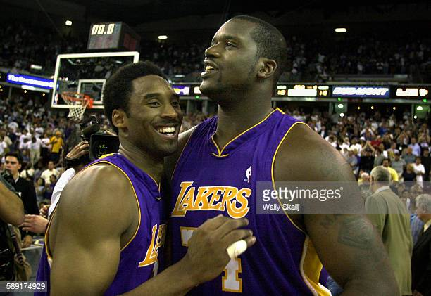 SP0513lakers9WS Lakers Kobe Bryant left celebrates his 48–points with Shaquille O'Neal after defeating the Kings in Game 4 of the Western Conference...
