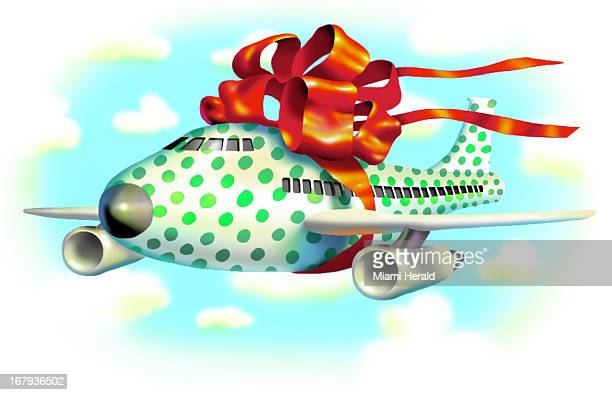 29p x 19p Earl F. Lam III color illustration of gift wrapped airplane tied up with big red bow.