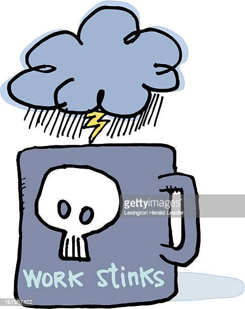 29p x 37p Chris Ware color illustration of a coffee mug labeled work stinks with a dark stormy cloud above