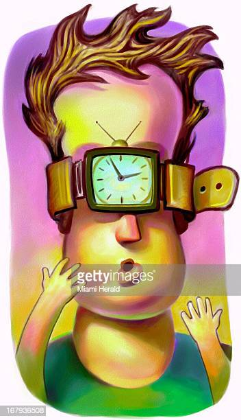 29p x 50p Earl F Lam III color illustration of a child's eyes and ears strapped by a watchband with a television set clockface For use with stories...