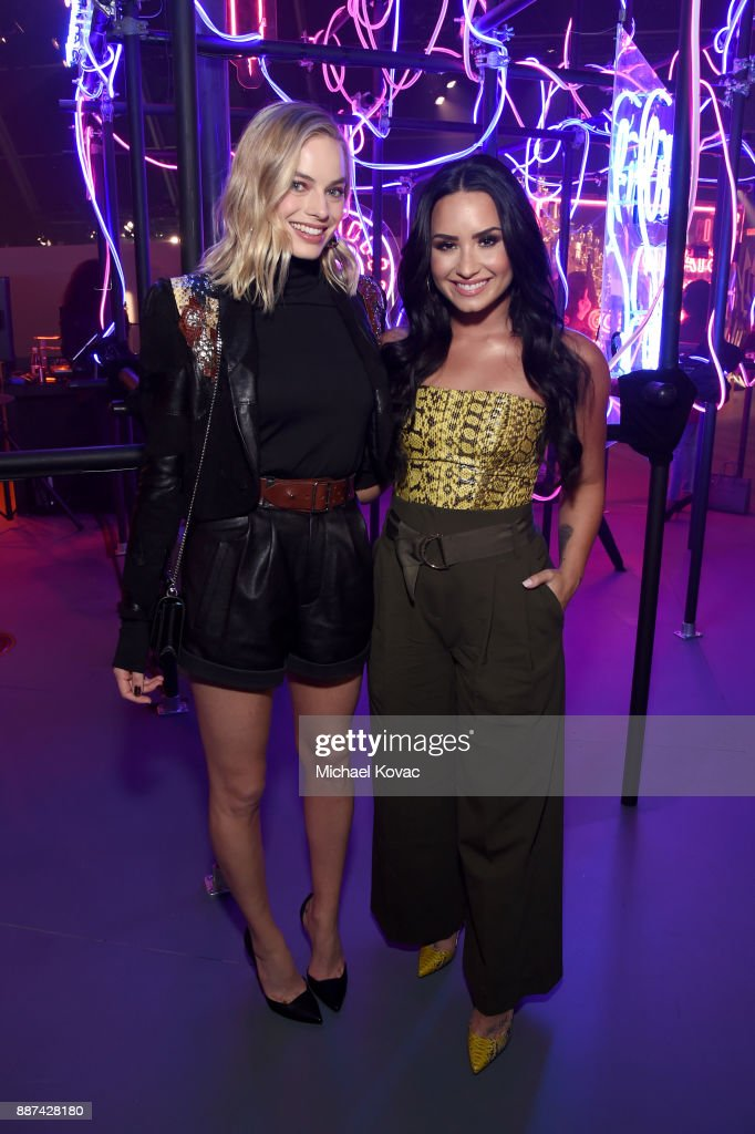 29Rooms Collaborators Margot Robbie (L) and Demi Lovato attend Refinery29 29Rooms Los Angeles: Turn It Into Art Opening Night Party at ROW DTLA on December 6, 2017 in Los Angeles, California.