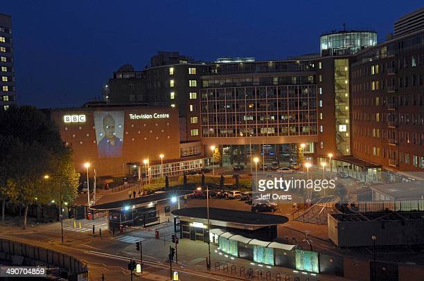Image of kidnapped BBC News correspondent and journalist Alan Johnston projected onto BBC TV Centre at White City west London Tonight will be the BBC...