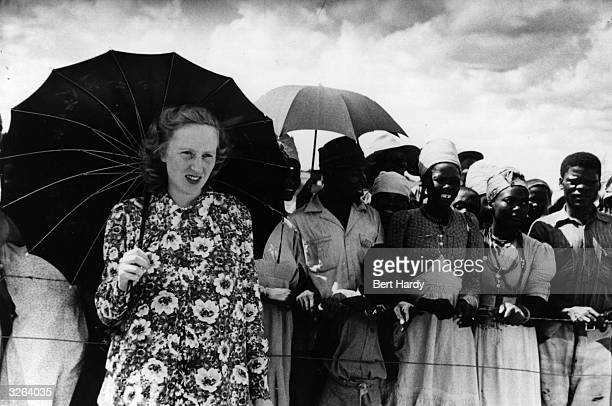 Ruth Khama , wife of the chief of the Bamangwato, Seretse Khama, awaiting the return of her husband from London. Original Publication: Picture Post -...