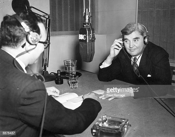 Labour politician Aneurin Bevan who founded the National Health Service being interviewed for the BBC radio programme 'Today'