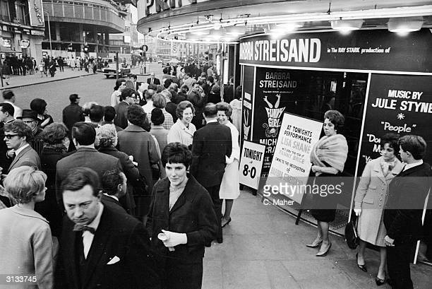 Crowds outside the Prince of Wales Theatre where understudy Lisa Shane will play the role of Fanny Brice in 'Funny Girl' due to Barbra Streisand...