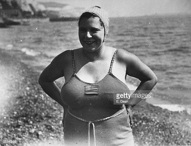 Eva Morrison from Boston USA on the shore at Dover She hopes to swim the channel and is being trained by Mr Cole a Dover pilot She failed in her...