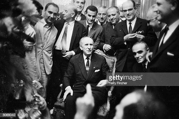 Greek politician and founder of the Centre Union Party in 1961 Georgios Papandreou at a demonstration in Athens shortly after his resignation from...